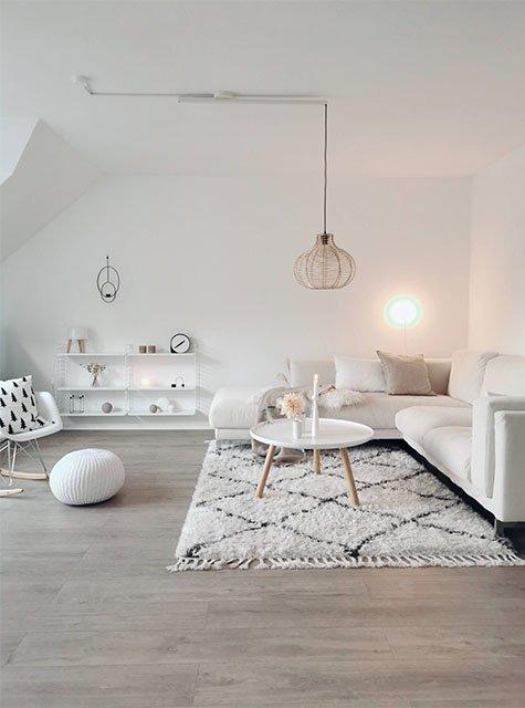 Lightswing living room with mounting ring (Single matt white)